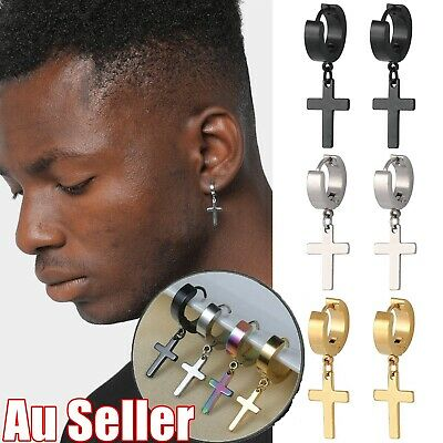 AU4.95 • Buy 1Pair Unisex Stainless Steel Cross Pendant Multi-Colour Hoop Piercing Earrings