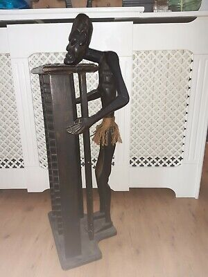 Carved Wooden Tribal Ethnic African Man Stand/Statue, CD Holder/Rack Side Table • 55£