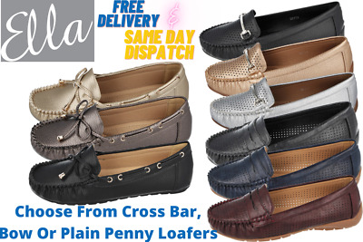 Ladies ELLA Faux Leather Penny Loafers Flat Slip On Pumps Comfort Moccasin Shoes • 12.95£