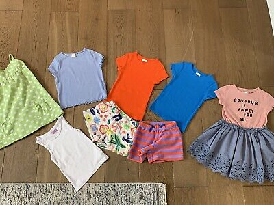 💕Mini Boden Girls 4Y Towelling Summer Shorts With Extra Next Dresses And Tops • 14£