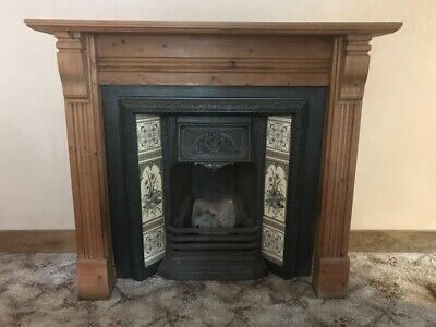 Victorian Style Cast Iron Tiled Fireplace, Pine Surround Mantlepiece • 1.04£