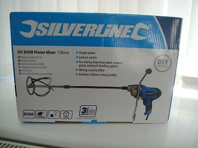 SILVERLINE HEAVY DUTY CEMENT PLASTER MORTAR PAINT MIXER MIXING PADDLE 240V,850w • 52.75£