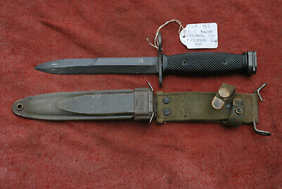 $ CDN161.01 • Buy U.S.A VIET NAM BAYONET B.O.C. & US M8A1GREEN FIBREGLASS SCABBARD With Web Frog