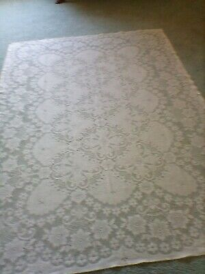 $7.99 • Buy Lovely Vintage Ivory Lace Tablecloth.   60  X 90 . Rectangle