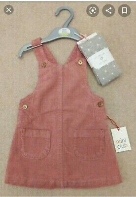 Girls Dress Miniclub Pinafore Cord Dungarees Corduroy Pink With Grey Tights GIFT • 14.99£