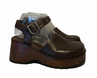 $29.99 • Buy Womens Amanda Smith Brown Leather Chunky Heel Closed Toe Sandals Shoes Clogs 7.5