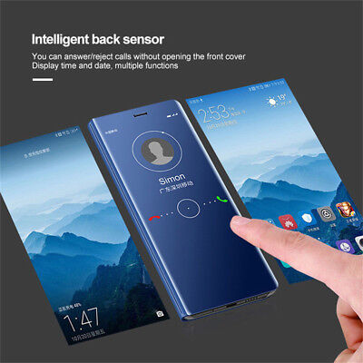 AU8.92 • Buy For OnePlus 8 7 Pro 6T 6 5T,Shockproof Clear View Mirror Flip Stand Case Cover