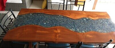 AU350 • Buy Stunning Epoxy Riverbed Dining Table Complete With 6 Chairs
