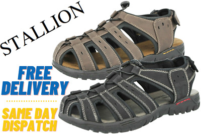 Mens Stallion Touch Close Back Strap Active Cut Out Toggle Gladiator Sandals  • 16.95£