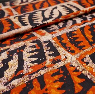 Orange Black Leaf Printed Batik Style African Wax Ankara Fabric Per Metre M811 • 4£