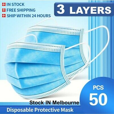 AU10.97 • Buy Face Mask 3 Ply Layer Medical Mouth Masks Anti Bacterial Filter Respirator 50PCS