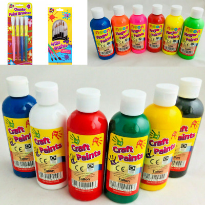 6 X 200ml Paint OR Paint Brushes Children's Craft Poster Paint Ready Mixed Art • 11.79£