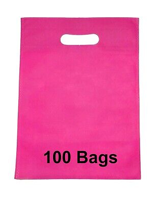 Pink Colour 100 Bags 22cm X 30cm Non Woven Bag With Carry Handle Party Gift Bag • 5.49£