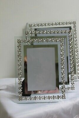 £16.99 • Buy Glamour Photo Frame Silver And  Glass Crystal  Three Sizes.freestanding