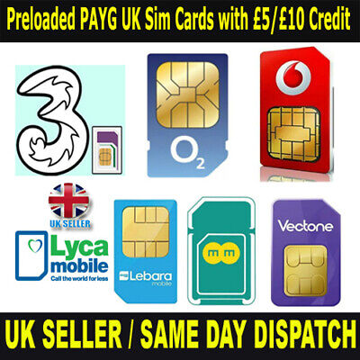 £6.95 • Buy Preloaded PAYG UK Sim Cards With £5/£10 Credit For EE O2 Vodafone Lyca Vectone