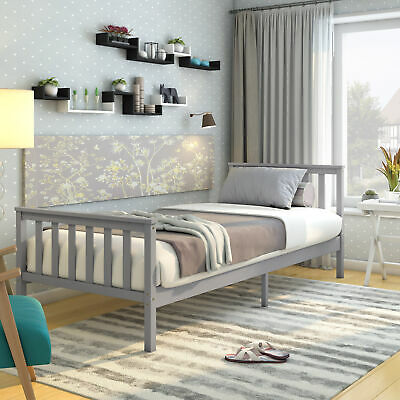Solid Wood 3ft Single Bed Frame Slats Bedstead Grey+Wooden Bedroom Furniture UK • 49.99£