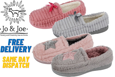 Ladies Jo & Joe Fluffy Faux Fur Fleece Star Hard Sole Moccasin Slippers UK • 10.95£