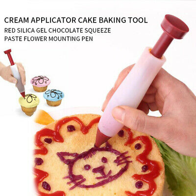 Icing Pen Cake Decorating Tools Silica Gel Nozzles Piping Syringe Cream Tips ~ • 1.64£
