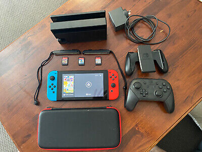 AU425 • Buy Nintendo Switch Neon Console With 3 Games, Carry Case + Extra Controller.