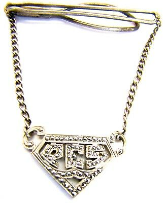 $19.99 • Buy Sterling Silver Marcasite Tie Clasp Manleigh Clip Chain Pendant Monogram 3  PES