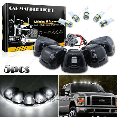 $36.99 • Buy 5X Smoke Cab Marker Light W/ White LED Assembly & Wiring Fits 99-16 Ford 250-550