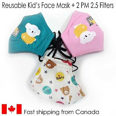 $ CDN6.99 • Buy Reusable Kid's Face Mask With 2 X PM2.5 Filter Inserts