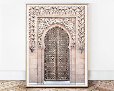 £12.50 • Buy Moroccan Wall Art Blush Door Print Morocco Architecture Pink Moroccan Arch Pink
