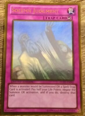 AU69 • Buy Solemn Judgment - GLD5-EN045 - Ghost Rare Yu-Gi-Oh! Card