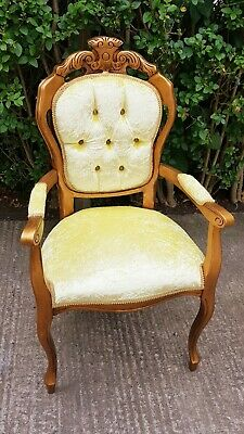 French Louis Gold Gilt Style Bedroom Chair With Yellow Velvet Fabric • 85£