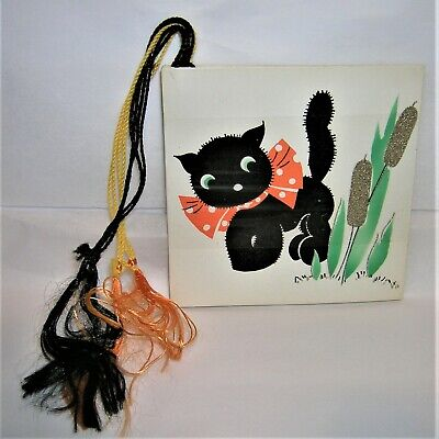 $ CDN5.64 • Buy Pack Of 4 VINTAGE 1940's Gibson HALLOWEEN Party Tally Card BLACK CAT, ORANGE BOW