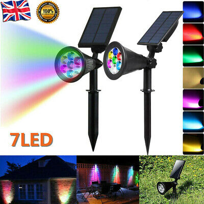 7 LED Solar Spot Lights Color Changing Garden Light Outdoor Yard Lamp Waterproof • 13.98£