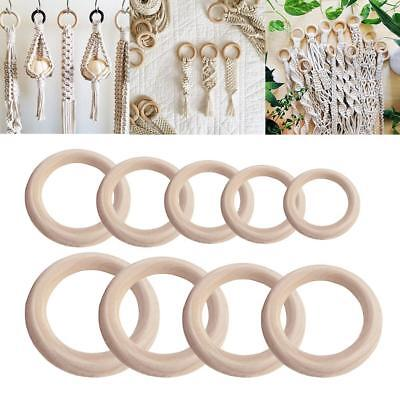 5-50Pcs Natural Wooden Round Rings DIY Necklace Jewellery Macrame Beads • 2.72£