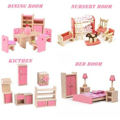 £7.99 • Buy Kid Pink Wooden Furniture Dolls House Miniature 6 Room Set Doll For Gift DIY New