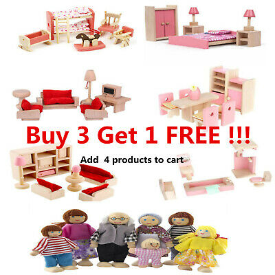 Kid Pink Wooden Furniture Dolls House Miniature 6 Room Set Doll For Gift DIY New • 9.59£