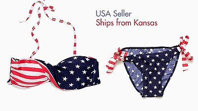 £7.24 • Buy Stars And Stripes Twisted USA American Flag Padded Bikini Swimsuit 4th Of July