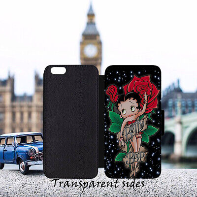 AU18.67 • Buy Red Rose Betty Boop Leather Flip Wallet Phone Case