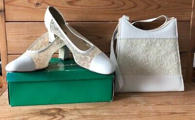 CLARKS Ivory Mesh Court Heels Shoes And Matching Evening Bag Wedding Etc UK 6.5D • 29.99£