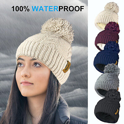 £9.99 • Buy Ladies STORMACTIVE 100% Waterproof Warm Cable Knit Hat Pompom Thermal Liner