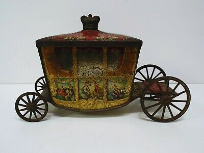 £69.99 • Buy Vintage W&r Jacob Ltd Biscuit Stagecoach Tin With Paintings Rare  (wm493)
