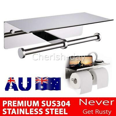 AU29.95 • Buy Stainless Steel Double Toilet Paper Holder Towel Roll Tissue Rack Storage Shelf&