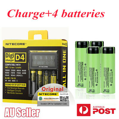 AU39.99 • Buy Nitecore D4 4 Slot Smart Battery Charger Lithium With 4 Ncr18650 26650 17500