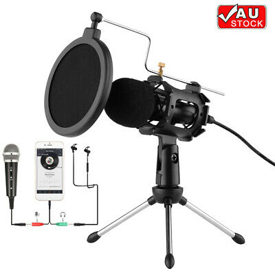 AU21.99 • Buy 3.5mm Microphone Kit W/ Tripod Stand Fit For PC Laptop Phone Recording Singing