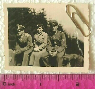 WW2 Orig. Photo German Officers Lady Uniform Belt Visor Cap Rank 2 X 2.5 Inch • 0.99£