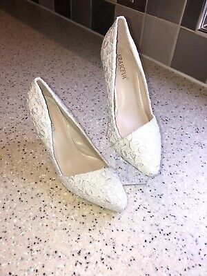 Ladies Size 4 Cream High Heel Shoes With Sparkle Detail By Krasceva NWB Stunning • 10£