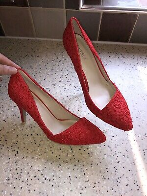 Ladies Size 6 Red High Heel Shoes With Sparkle Details By Krasceva NWB, Stunning • 10£