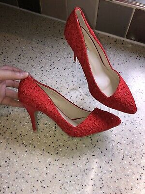 Ladies Size 4 Red High Heel Shoes With Sparkle Details By Krasceva NWB, Stunning • 10£