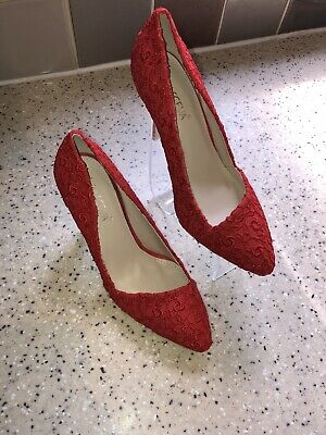 Ladies Size 3 Red High Heel Shoes With Sparkle Details By Krasceva NWB, Stunning • 10£