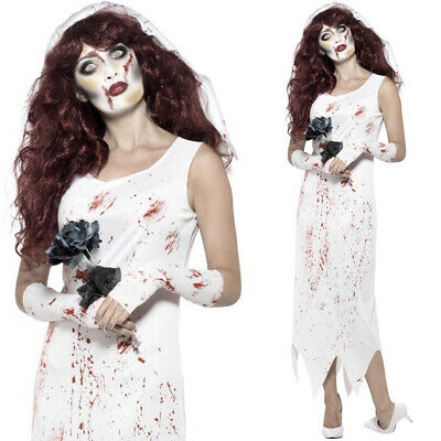 Ladies Zombie Bride Costume Halloween Fancy Dress • 14.49£
