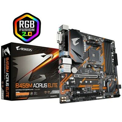 AU158.90 • Buy Gigabyte B450M Aorus Elite Motherboard AM4 Ryzen Micro-ATX MB With RGB Fusion