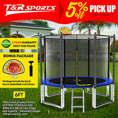 AU229.99 • Buy 15%OFF  Pop Master 6FT Flat Trampoline With Basketball Hoop Ladder Kids